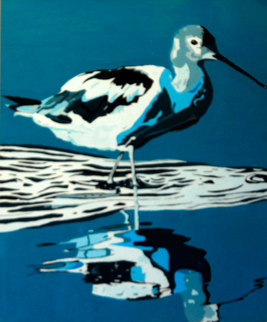 Avocet in Water  by Elizabeth Williams  (Acrylic)